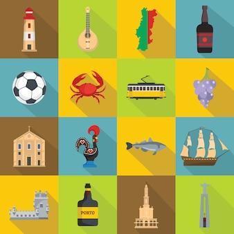 Conjunto de iconos de viaje de portugal, estilo plano