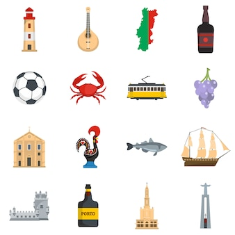 Conjunto de iconos de viaje de portugal