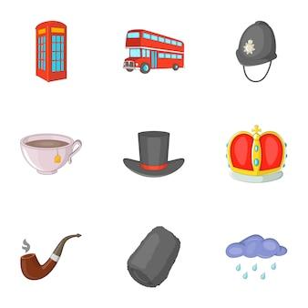 Conjunto de iconos de viaje de reino unido, estilo de dibujos animados