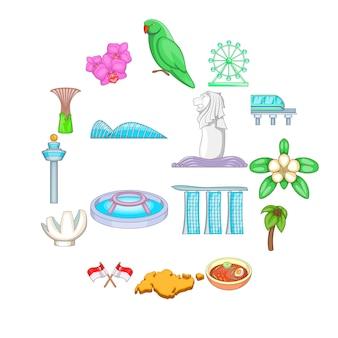Conjunto de iconos de viaje de singapur, estilo de dibujos animados