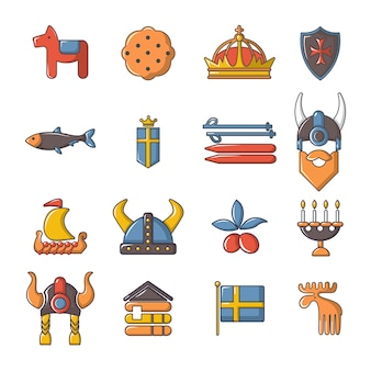 Conjunto de iconos de viaje de suecia