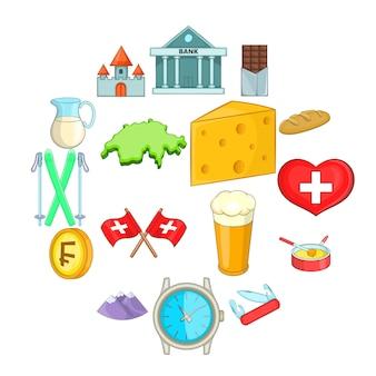 Conjunto de iconos de viaje de suiza, estilo de dibujos animados