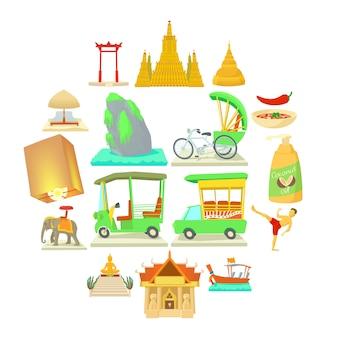 Conjunto de iconos de viaje de tailandia, estilo de dibujos animados