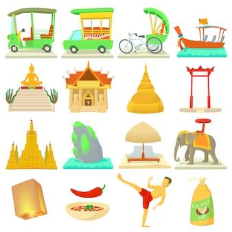 Conjunto de iconos de viaje de tailandia