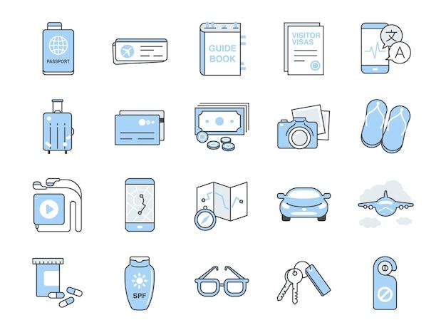 Conjunto de iconos de viaje.