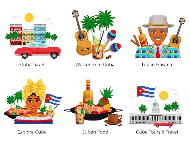 Conjunto de iconos de viajes a cuba