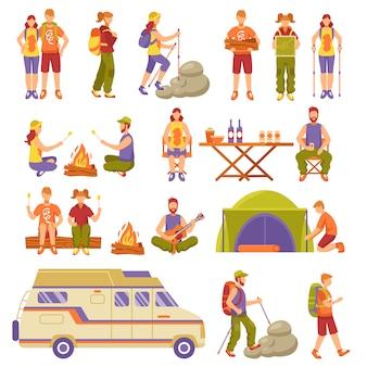 Conjunto de iconos de viajes de verano al aire libre