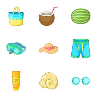 Conjunto de iconos de viajes de verano, estilo de dibujos animados