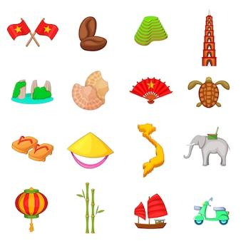 Conjunto de iconos de viajes de vietnam