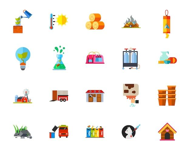 Conjunto de iconos de vida en el campo