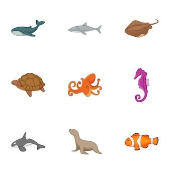 Conjunto de iconos de la vida del océano, estilo de dibujos animados