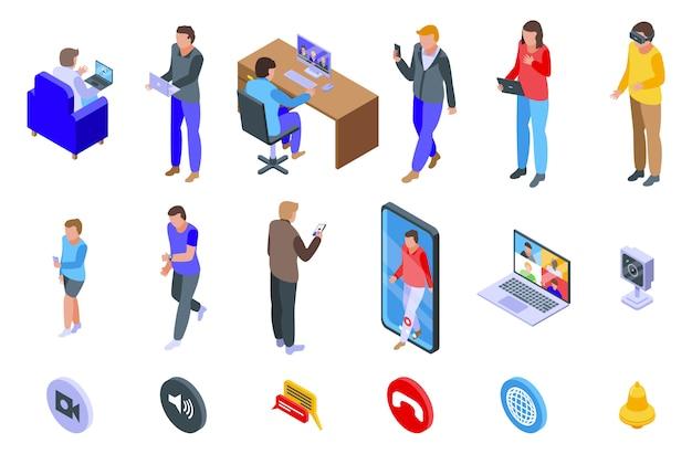 Conjunto de iconos de video llamada, estilo isométrico