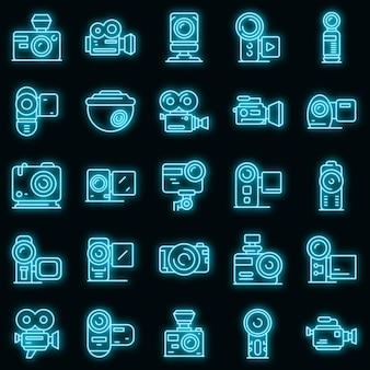 Conjunto de iconos de videocámara. esquema conjunto de iconos de vector de videocámara color neón en negro