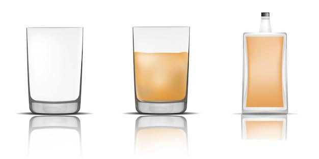 Conjunto de iconos de vidrio de botella de whisky, estilo realista