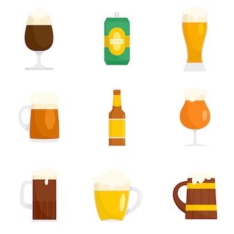 Conjunto de iconos de vidrio de botellas de cerveza
