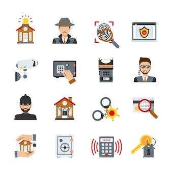 Conjunto de iconos de vigilancia y seguridad