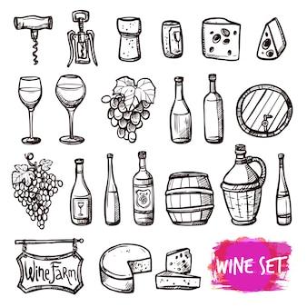 Conjunto de iconos de vino negro doodle
