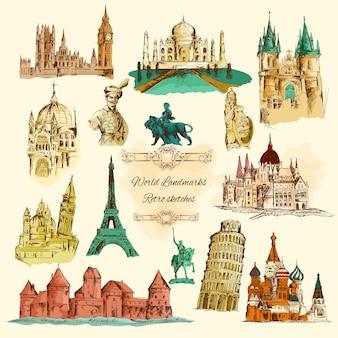 Conjunto de iconos vintage bosquejo de monumentos del mundo