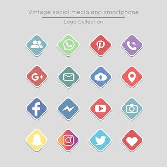 Conjunto de iconos vintage cuadrados redes sociales y teléfonos inteligentes