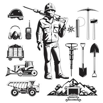 Conjunto de iconos vintage de la industria minera