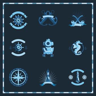 Conjunto de iconos vintage náuticos