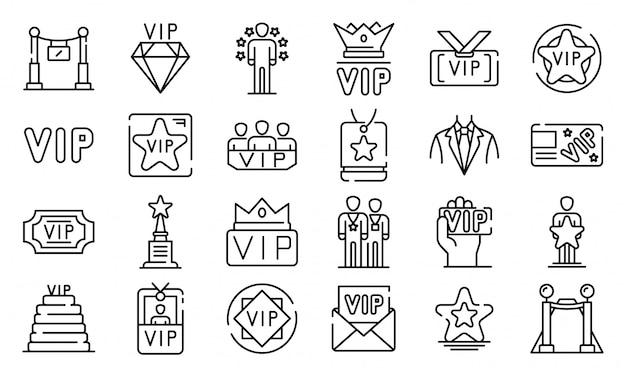 Conjunto de iconos vip, estilo de contorno