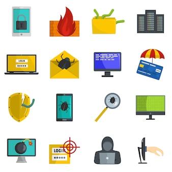 Conjunto de iconos de virus informáticos de ataque cibernético vector aislado