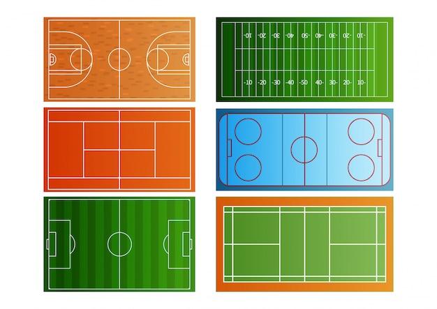 Conjunto de iconos de vista superior de campo de deporte.