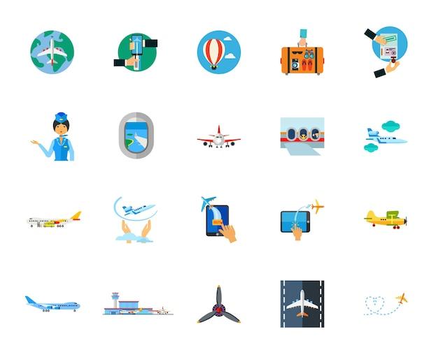Conjunto de iconos voladores