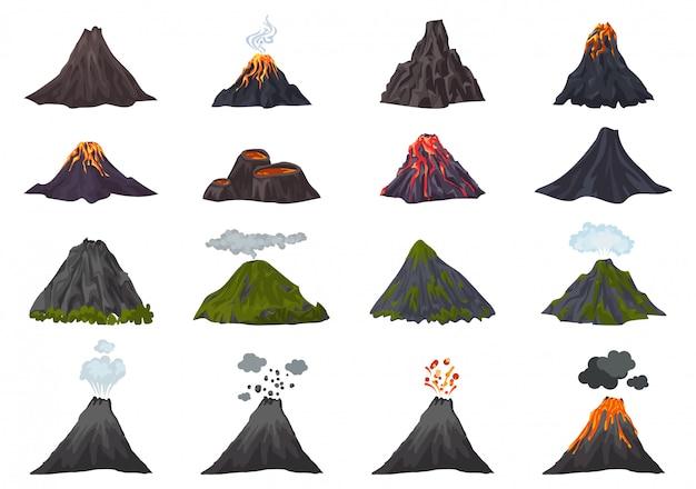 Conjunto de iconos de volcán, estilo de dibujos animados