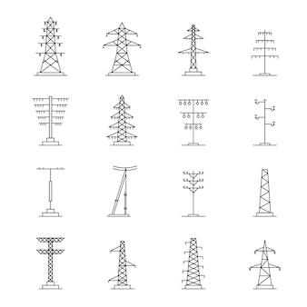 Conjunto de iconos de voltaje de torre eléctrica