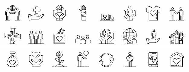 Conjunto de iconos de voluntariado, estilo de contorno