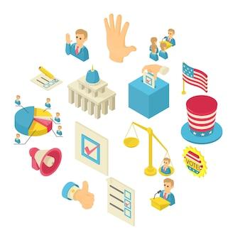Conjunto de iconos de votación de elección, estilo isométrico