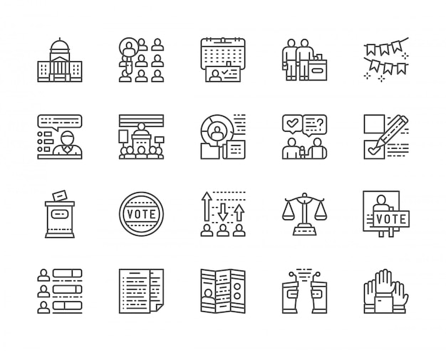 Conjunto de iconos de votación y elecciones