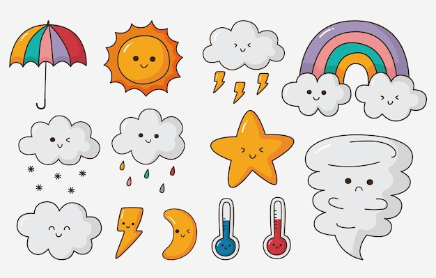 Conjunto de iconos de weater estilo de dibujos animados aislado