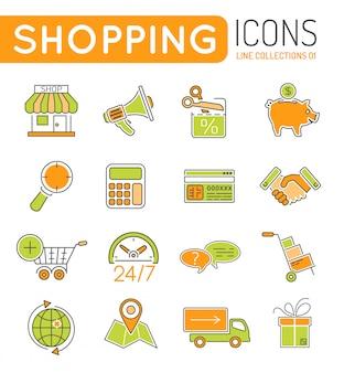 Conjunto de iconos de web de colores de líneas finas de compras en línea