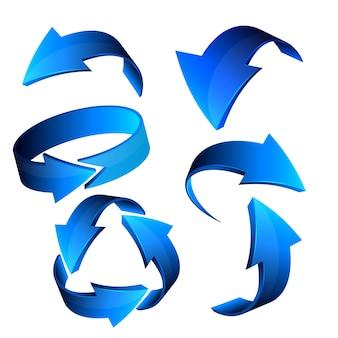 Conjunto de iconos de web de flecha 3d azul, vector.