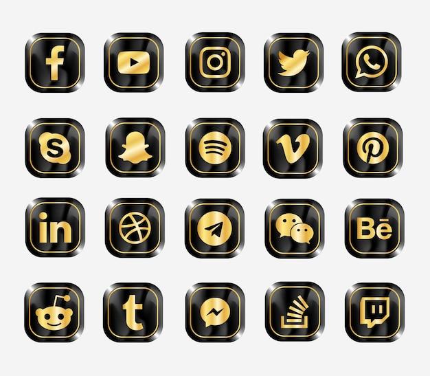 Conjunto de iconos de web moderna de redes sociales
