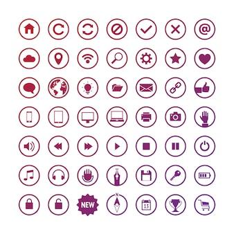 Conjunto de iconos web redondos