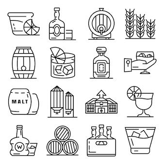 Conjunto de iconos de whisky. conjunto de esquema de iconos de vector de whisky