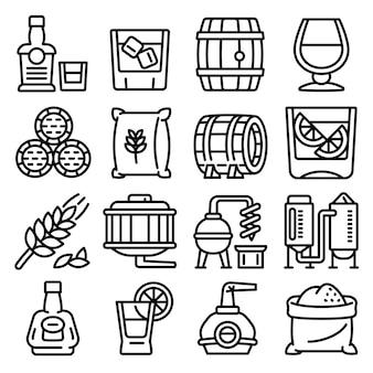 Conjunto de iconos de whisky, estilo de contorno