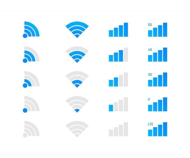 Conjunto de iconos de wifi inalámbrico. iconos del sistema de telefonía móvil.