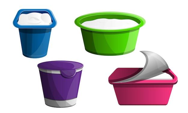 Conjunto de iconos de yogur, estilo de dibujos animados