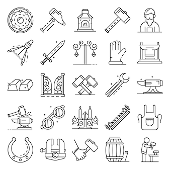 Conjunto de iconos de yunque. conjunto de esquema de iconos de vector de yunque