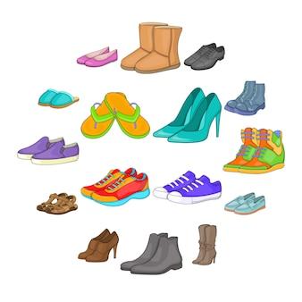 Conjunto de iconos de zapatos, estilo de dibujos animados