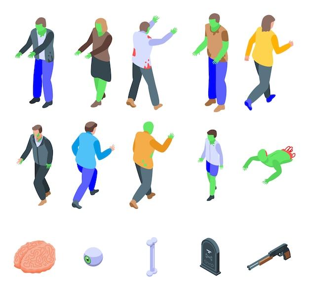 Conjunto de iconos zombie, estilo isométrico