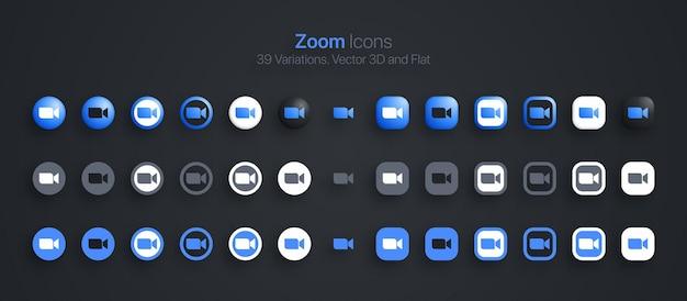 Conjunto de iconos de zoom moderno 3d y plano en diferentes variaciones