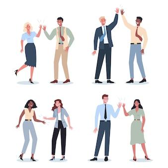 Conjunto de idea de comunicación de personas de negocios. hombre y mujer de negocios trabajando juntos y teniendo éxito. hombre y mujer de negocios chocan los cinco. ilustración vectorial en estilo de dibujos animados