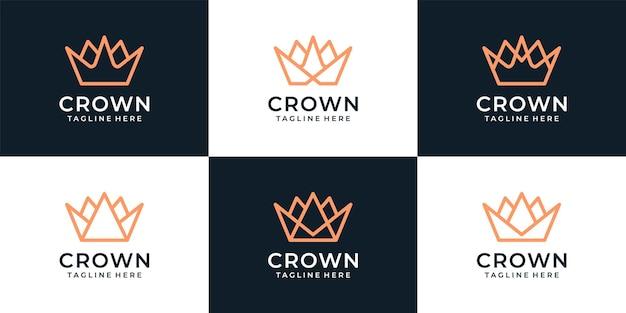 Conjunto de idea de diseño de logotipo de corona elegante real de lujo de monograma