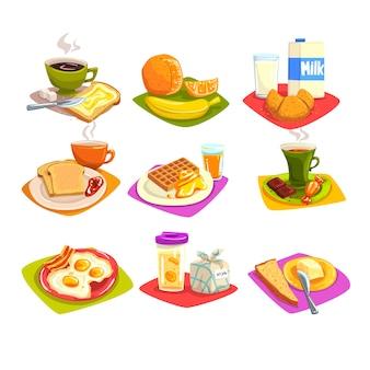 Conjunto de ideas de desayuno clásico